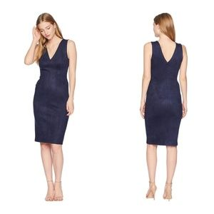 BCBGMaxazria Dark Navy Alda Faux-suede Dress Large